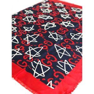 GUCCI GG Print & Stars Silk Scarf / Shawl - NWT